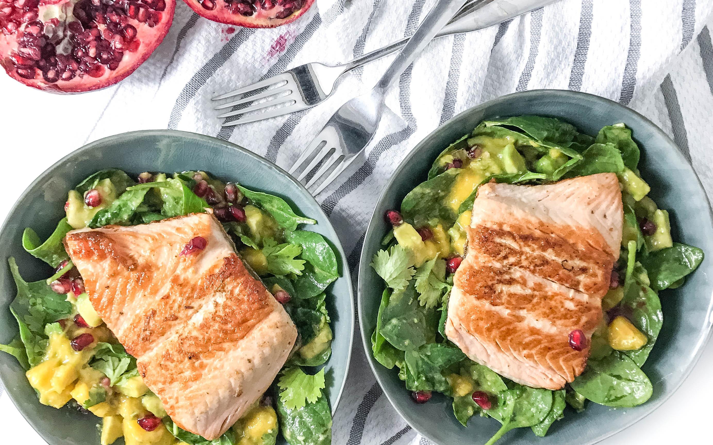 Spinat Salat mit Lachs